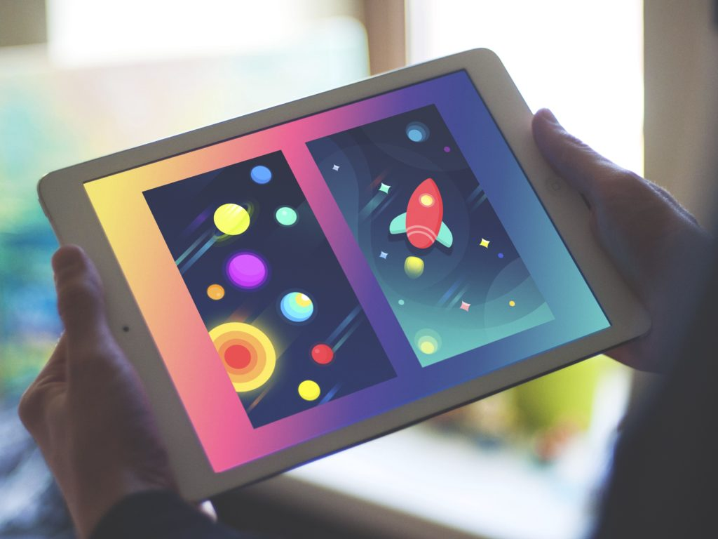 computer tablet shows attractive colors