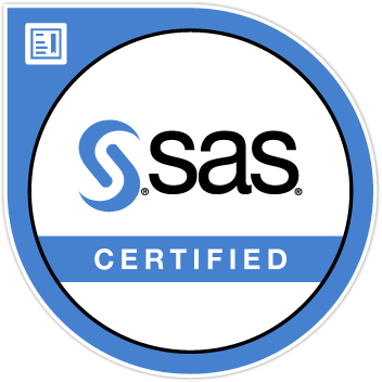 SAS certification logo in a blue round circle