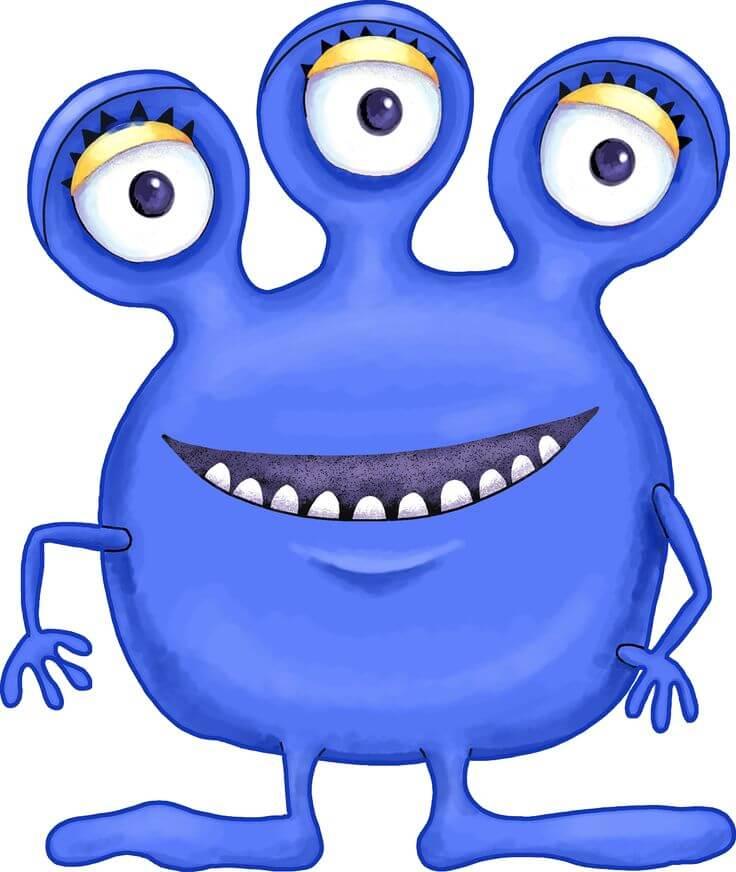 Cartoon of 3 eyed monster