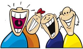 Cartoon of group of people laughing at silly jokes