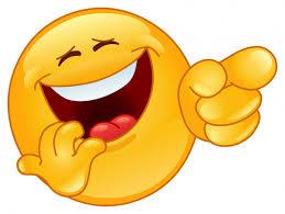 Big cartoon head laughing hard while pointing at something