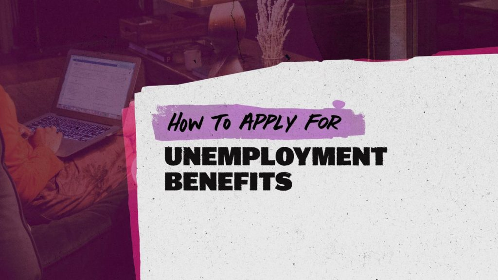 A file folder with how to apply for unemployment benefits written on it.