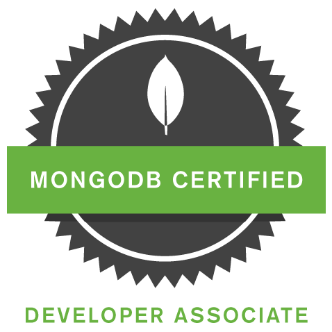 Black circle with green band for MongoDB certification