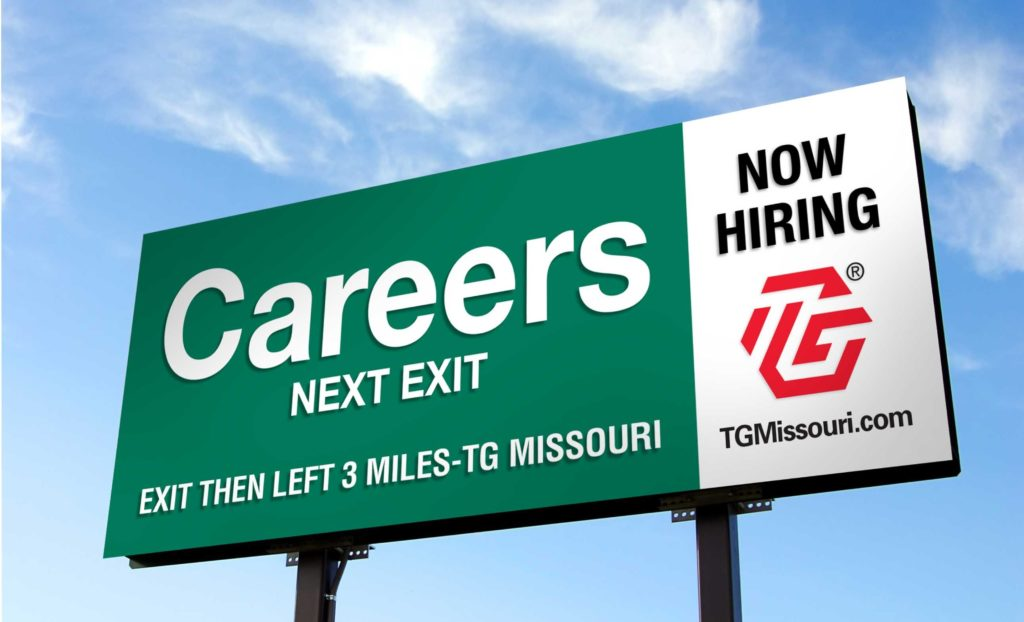 Billboard on side of highway advertising career opportunity with state of Missouri