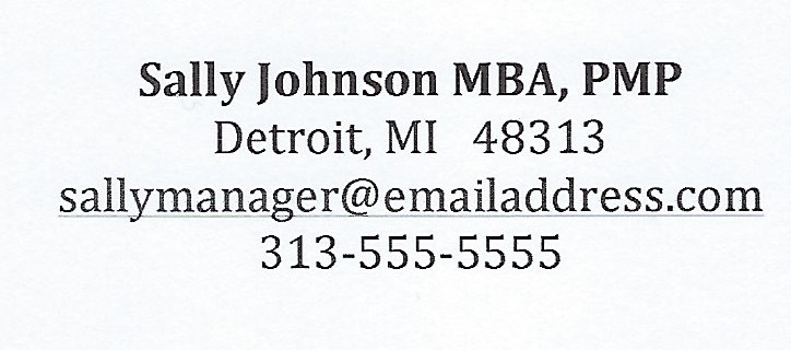 Contact information displayed as name, address, email, phone