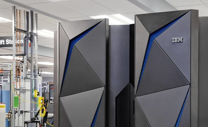 Large IBM mainframe computers. The latest IBM Z series computers. They are very tall and grey in color.