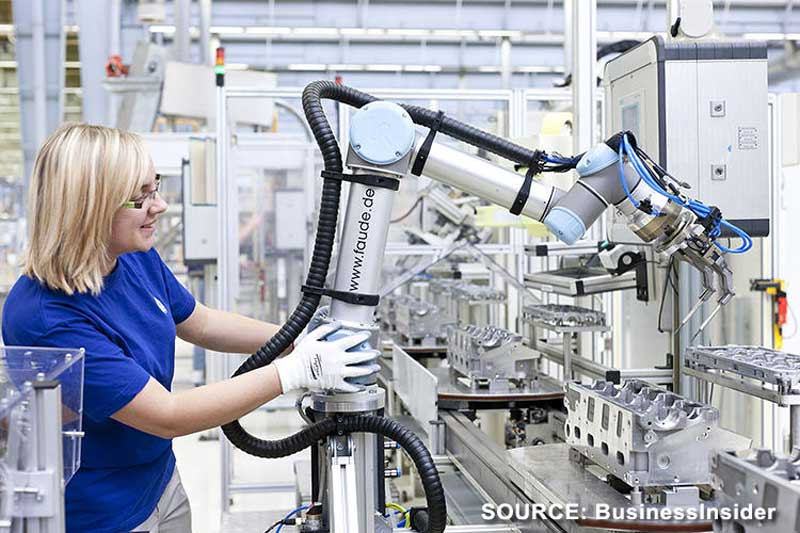 woman working with a robot in a factory setting.